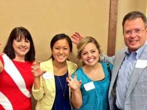 (L-R) Dr. Marlene Neil from Baylor, myself, Laura Beth Moore, Chris Talley of USAA, sic'em-ing for PR.